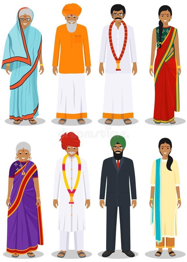 套在白色背景隔绝的传统衣物的另外常设印度老和年轻成人人  向量例证