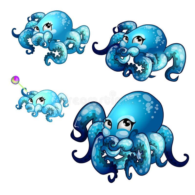 套在白色背景隔绝的动画章鱼成长阶段  传染媒介动画片特写镜头例证 皇族释放例证