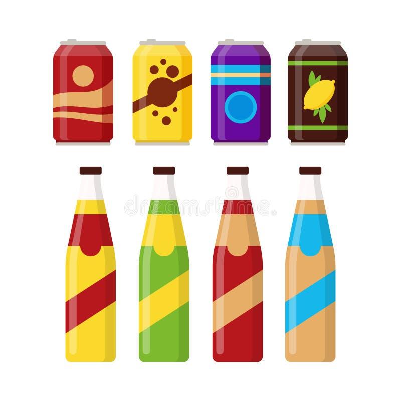 套在白色背景隔绝的玻璃瓶和铝罐子的五颜六色的软饮料 不同的寒冷饮料 皇族释放例证