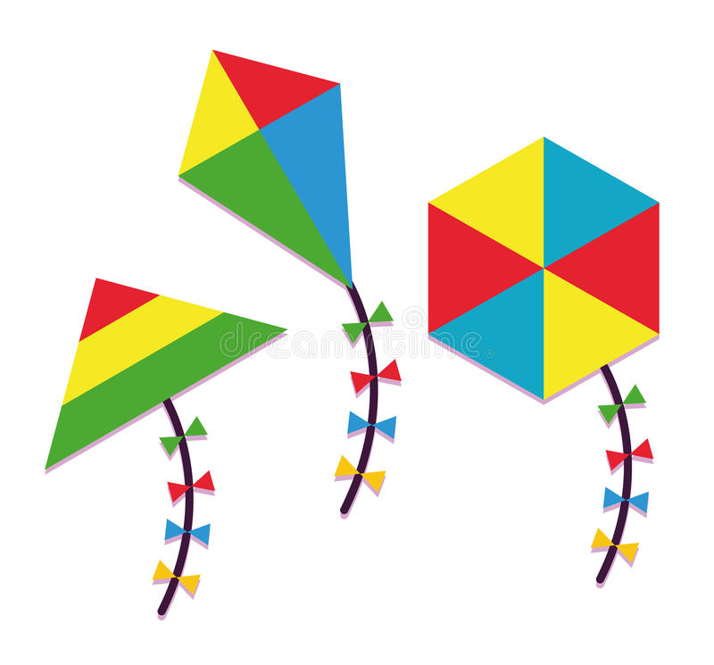 套在白色背景隔绝的动画片不同的风筝 皇族释放例证