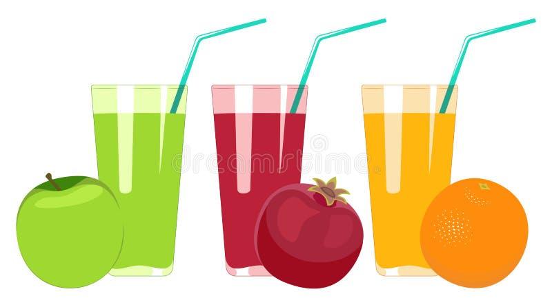 套在白色背景隔绝的果汁 苹果汁, p 向量例证