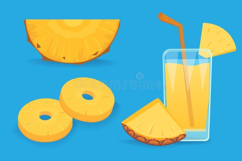 套在白色背景隔绝的菠萝切片 新鲜的自然果子 皇族释放例证