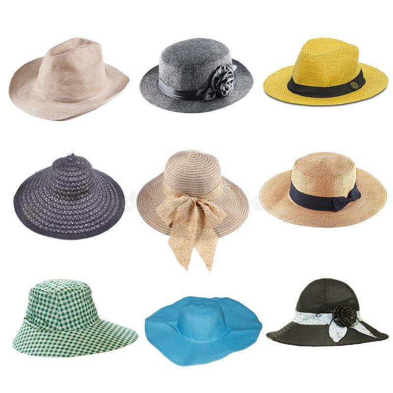 套在白色隔绝的时尚帽子 免版税图库摄影
