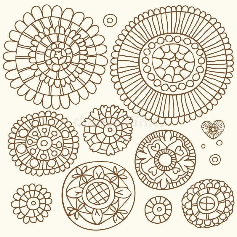 套在种族样式的花卉元素手拉 皇族释放例证