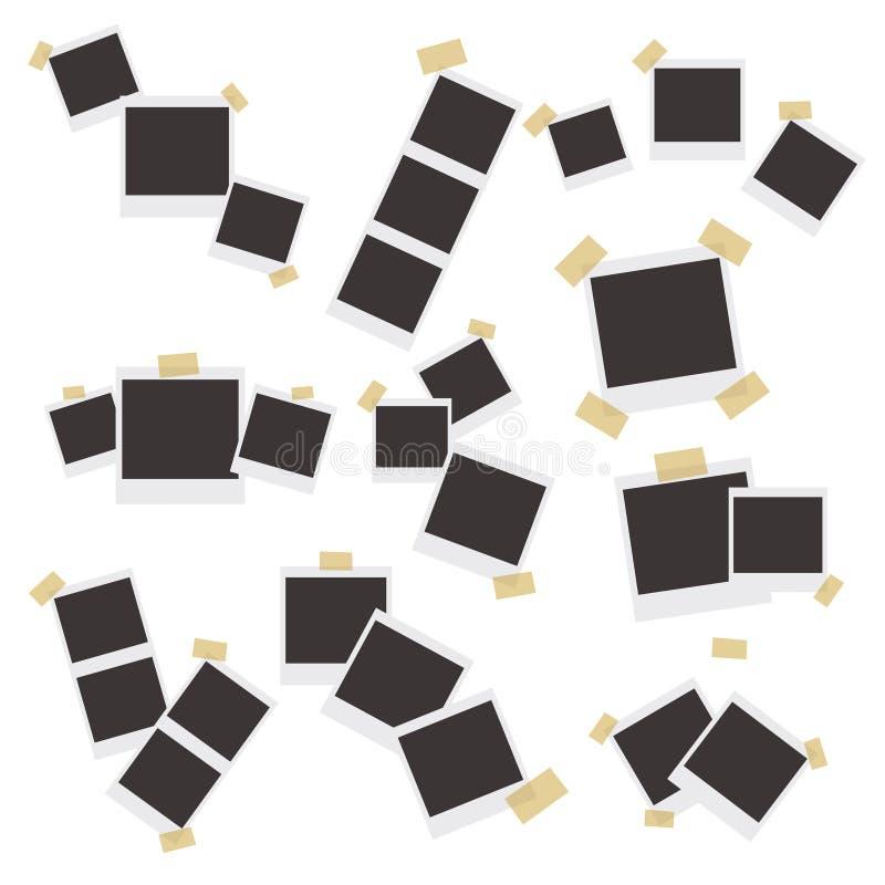套在稠粘的磁带、别针和铆钉灰棕色背景的现实照片框架 库存例证