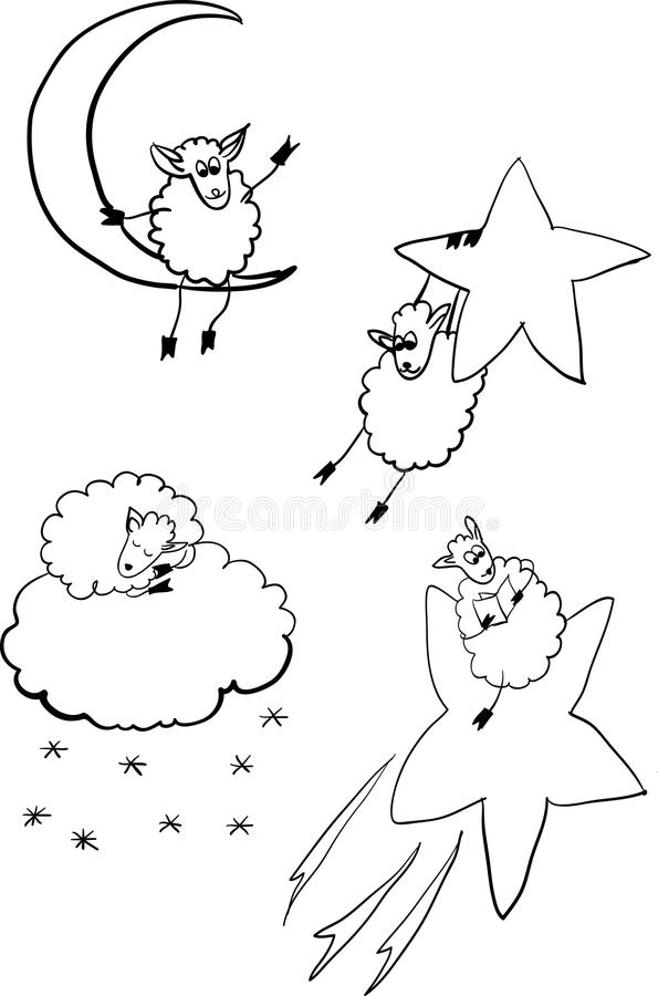 套在空间例证的绵羊 库存例证