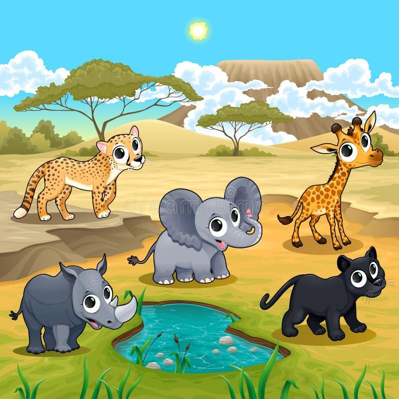 套在自然的滑稽的野生动物 向量例证