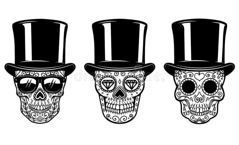 套在葡萄酒帽子和太阳镜的墨西哥糖头骨 停止的日 设计海报的,贺卡,横幅, t shi元素 向量例证