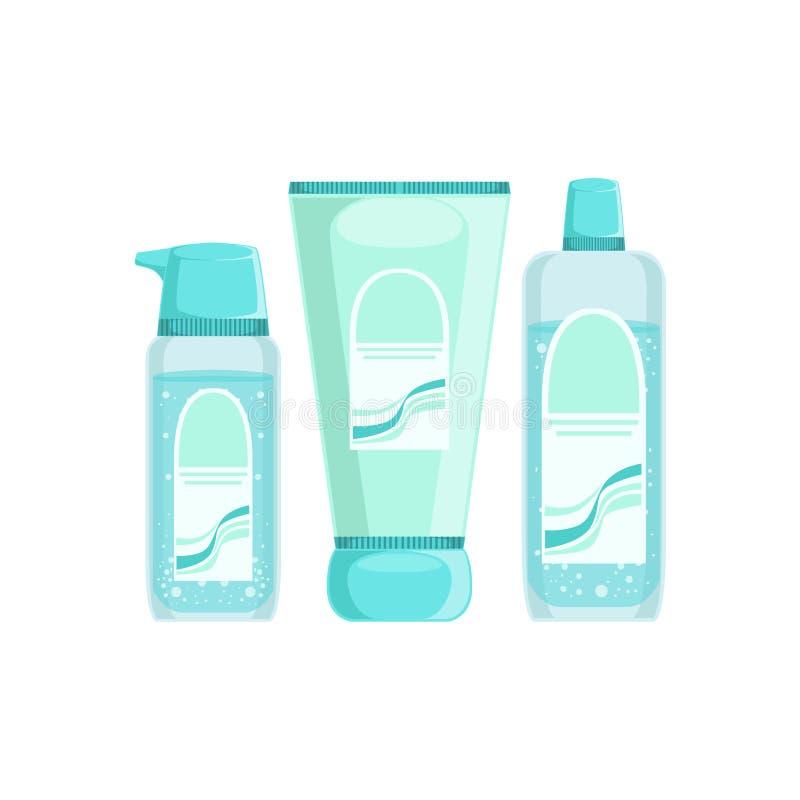 套在蓝色容器的专业皮肤病学的Skincare化妆用品线产品皮肤问题治疗的 皇族释放例证