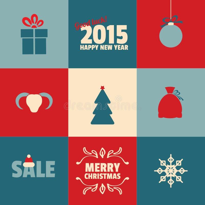 套在蓝色的减速火箭的圣诞节和新年卡片 向量例证