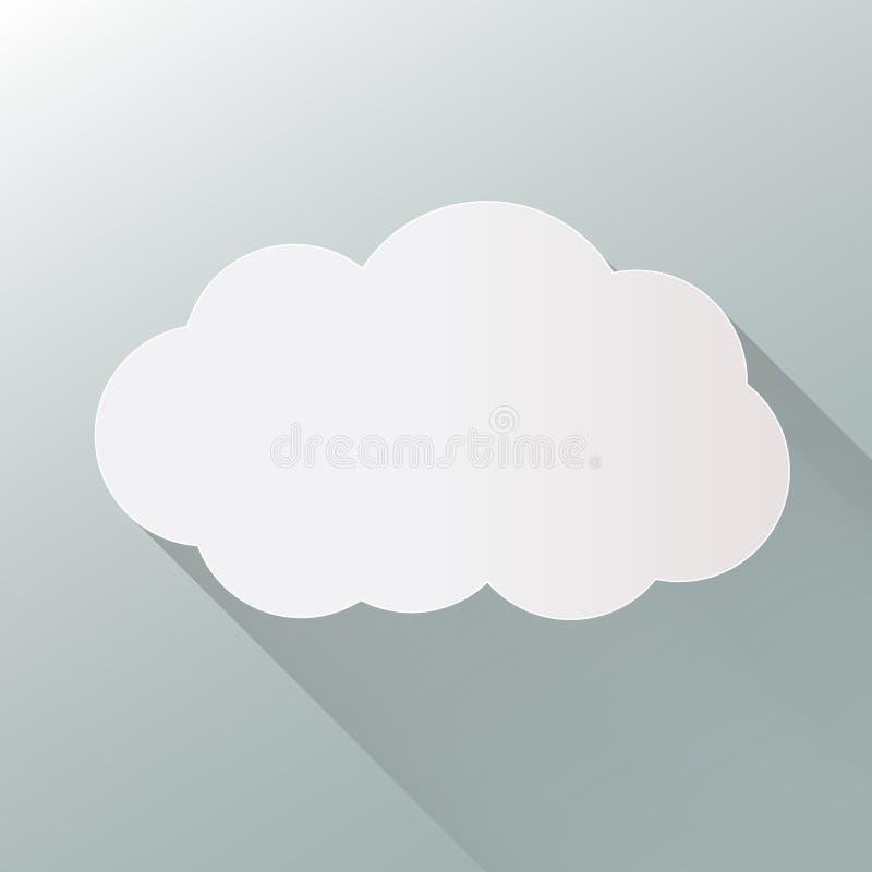 套在蓝色背景在时髦平的样式的云彩象隔绝的 您的网站设计的云彩标志,商标, app, UI 向量 皇族释放例证