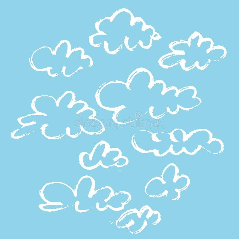 套在蓝色背景的各种各样的独特的云彩 云彩被画的现有量 标志冲程天空 皇族释放例证