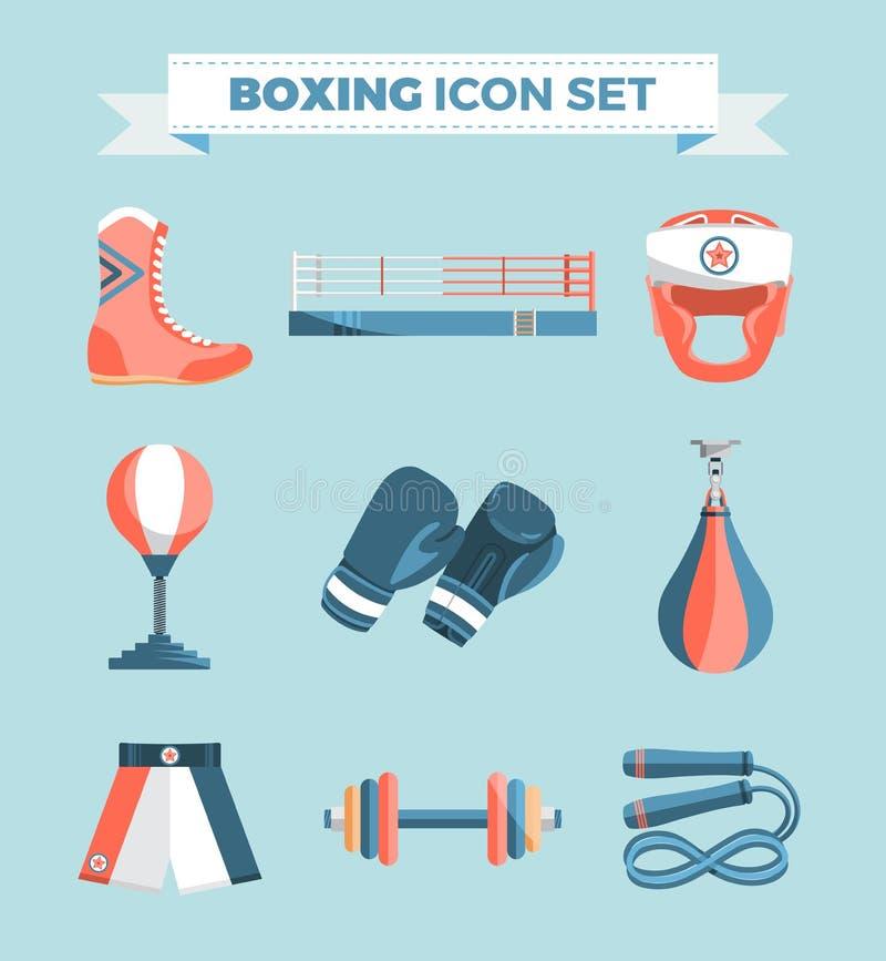 套在蓝色背景的拳击设备传染媒介五颜六色的设计元素 也corel凹道例证向量 皇族释放例证