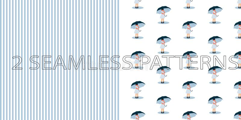 套在蓝色颜色的两个无缝的样式 库存例证