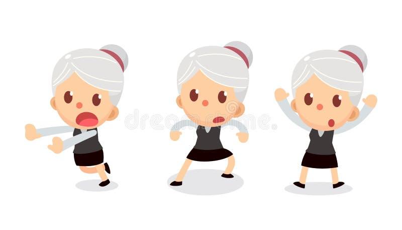 套在行动的微小的女实业家字符 有灰色头发的一名妇女 投降 皇族释放例证