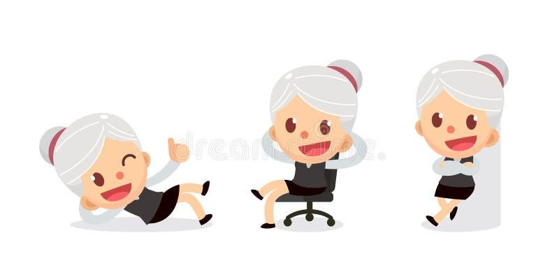 套在行动的微小的女实业家字符 有灰色头发的一名妇女 放松时间 库存例证
