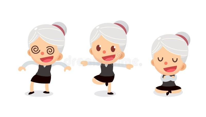 套在行动的微小的女实业家字符 有灰色头发的一名妇女 麻木 向量例证