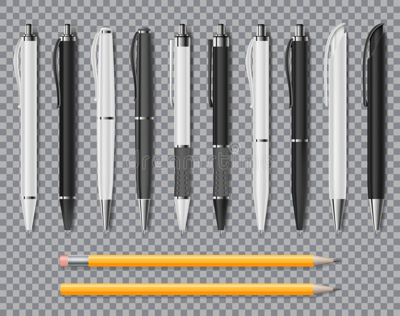 套在透明背景隔绝的现实办公室典雅的笔和铅笔 办公室空白的白色和黑球 库存例证