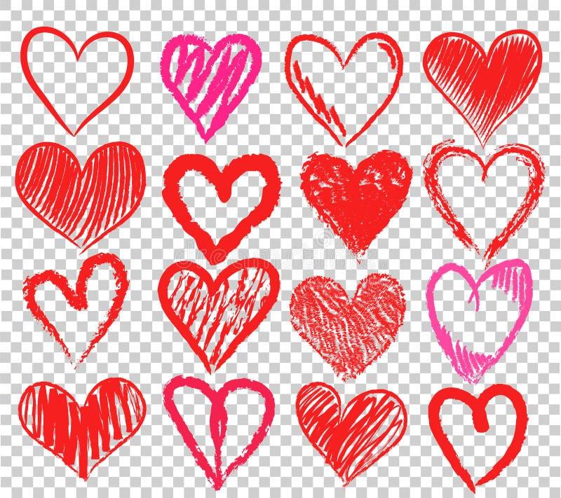 套在透明backgr的手凹道红色和桃红色心脏标志 皇族释放例证