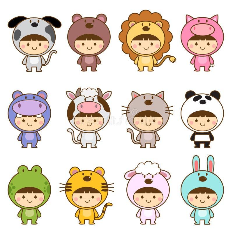 套在逗人喜爱的动物服装的孩子 向量例证