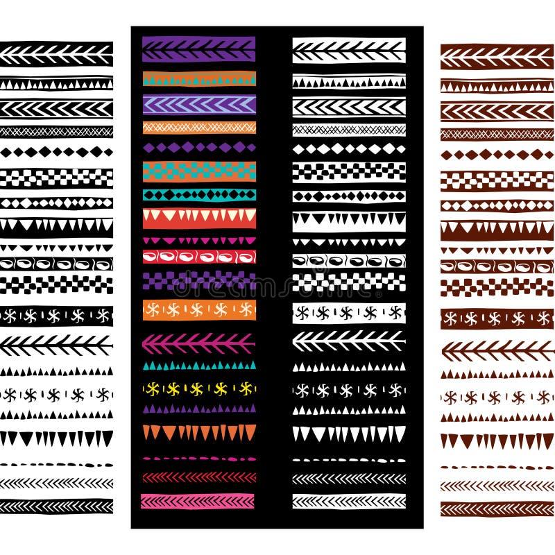 套在部族种族样式的几何样式刷子 皇族释放例证