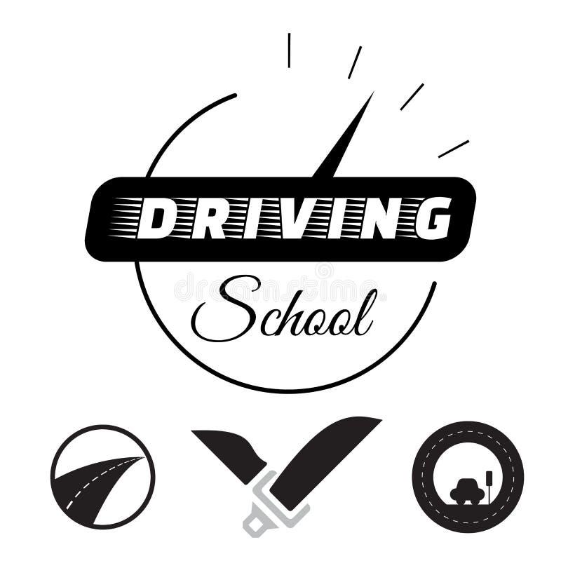 套在附属的驾驶学校的向量图形元素 也corel凹道例证向量 库存例证
