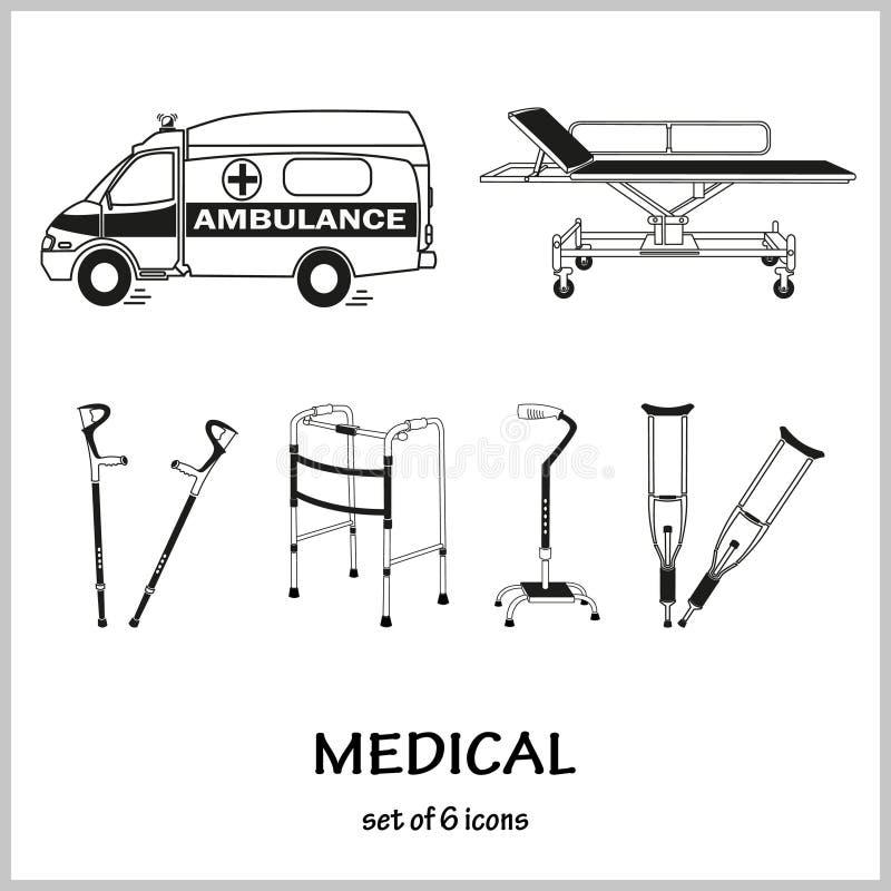 套在题材医学的传染媒介象 伤害,破裂,救护车 库存例证