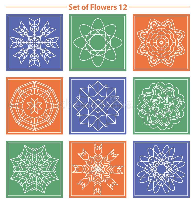 套在颜色后面的几何和花卉线性组合图案设计 库存例证
