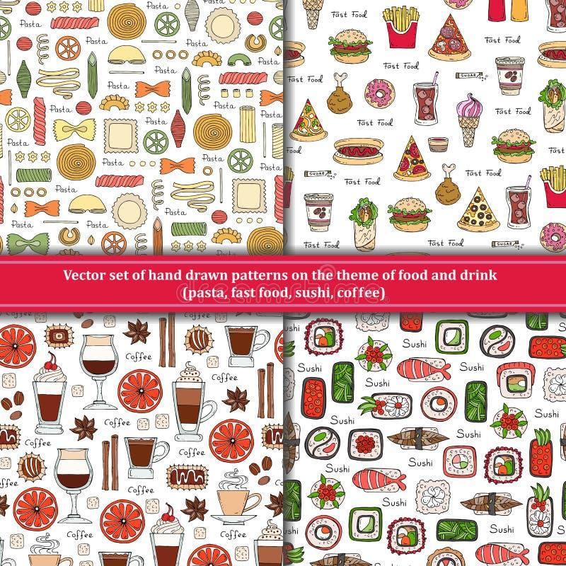 套在食物,饮料题材的样式  库存例证