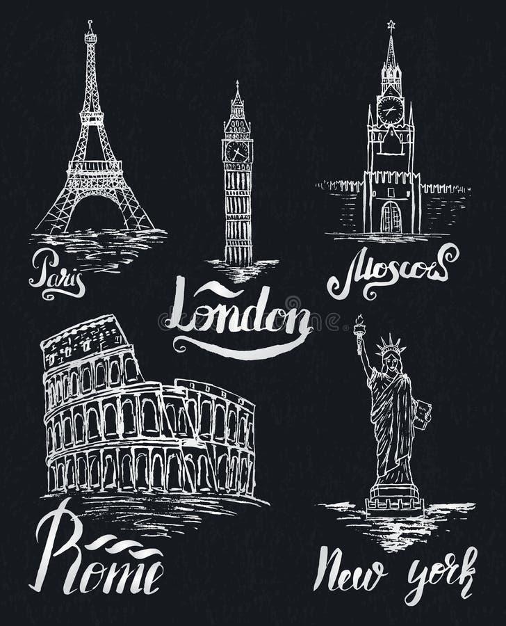 套在黑暗的shaby背景的纽约,莫斯科,巴黎,罗马,伦敦标签 向量例证