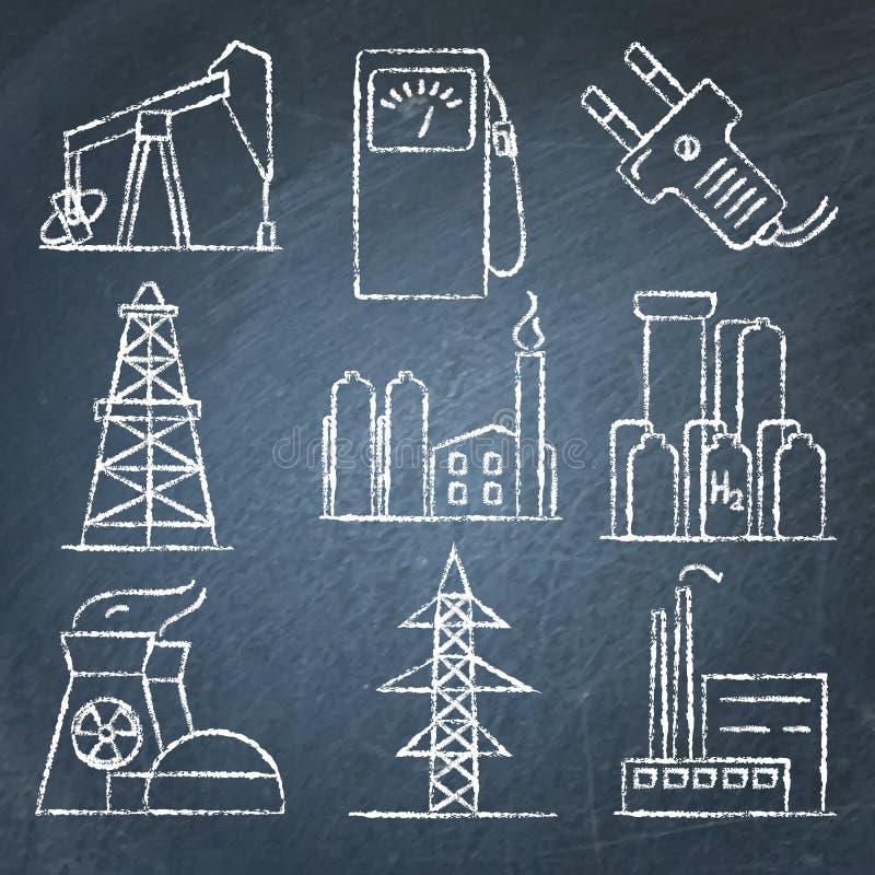 套在黑板的能量和电手拉的象 向量例证