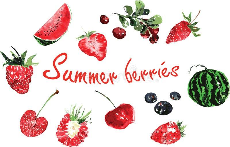 套在水彩绘的夏天莓果 皇族释放例证