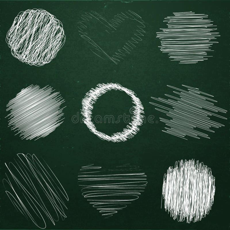 套在黑板的手拉的对象白垩 泡影乱画设计的不同的形状 皇族释放例证