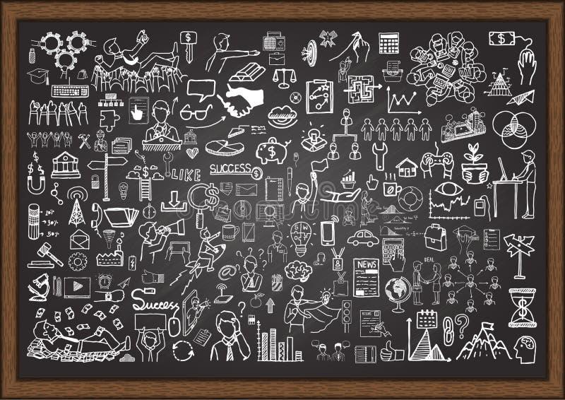 套在黑板的经济情况乱画 皇族释放例证