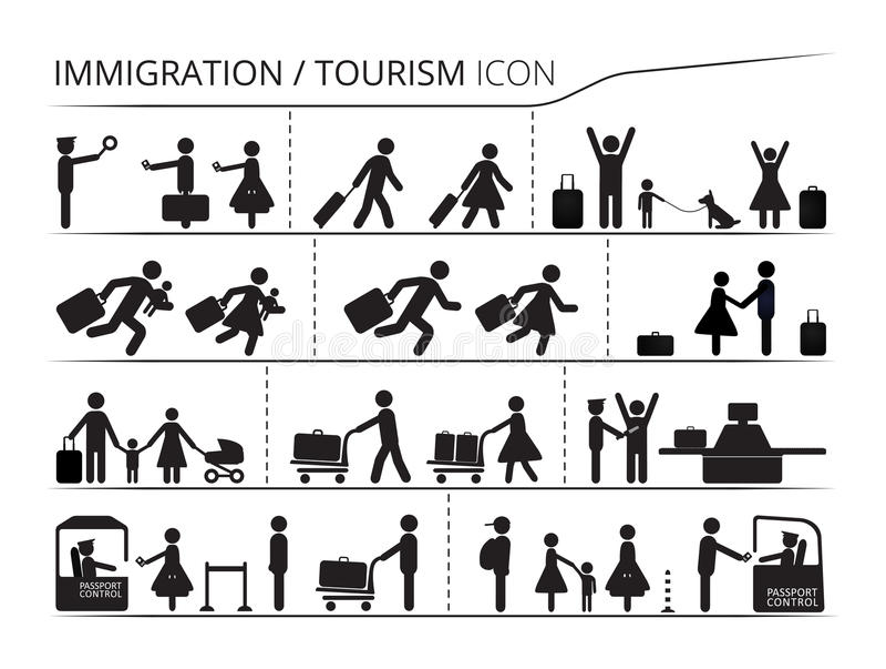 套在移民和旅游业题材的象  向量例证