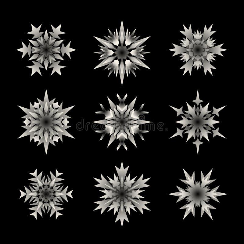 套在黑背景的九个传染媒介白色半透明雪花形状设计元素 皇族释放例证