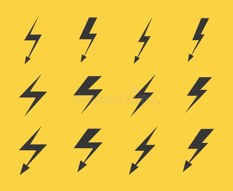 套在黄色背景的传染媒介闪电 向量例证