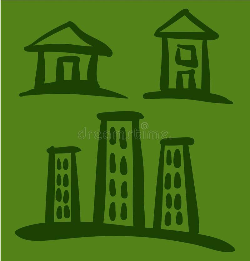 套在绿色背景的议院剪影 皇族释放例证