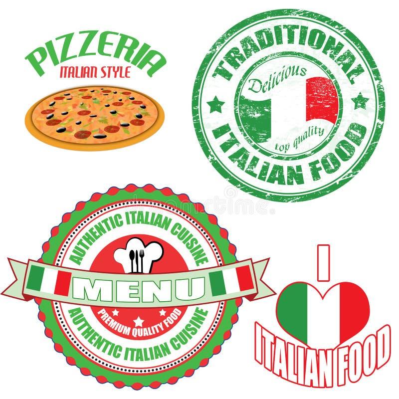 套地道意大利食物券和标签 皇族释放例证