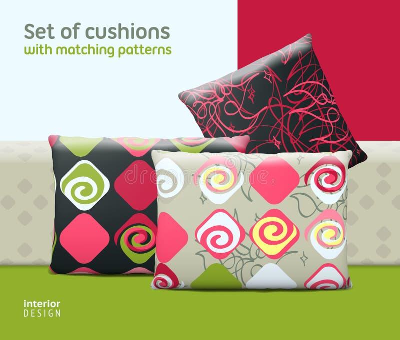 套坐垫和枕头有匹配的无缝的样式 向量例证