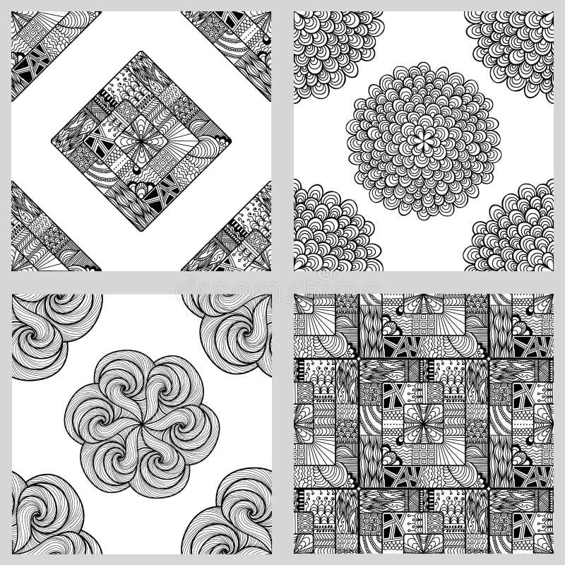 套坛场无缝的样式 黑白圆的装饰品 向量例证
