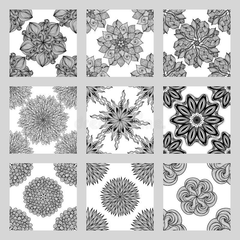 套坛场无缝的样式 黑白圆的装饰品 皇族释放例证