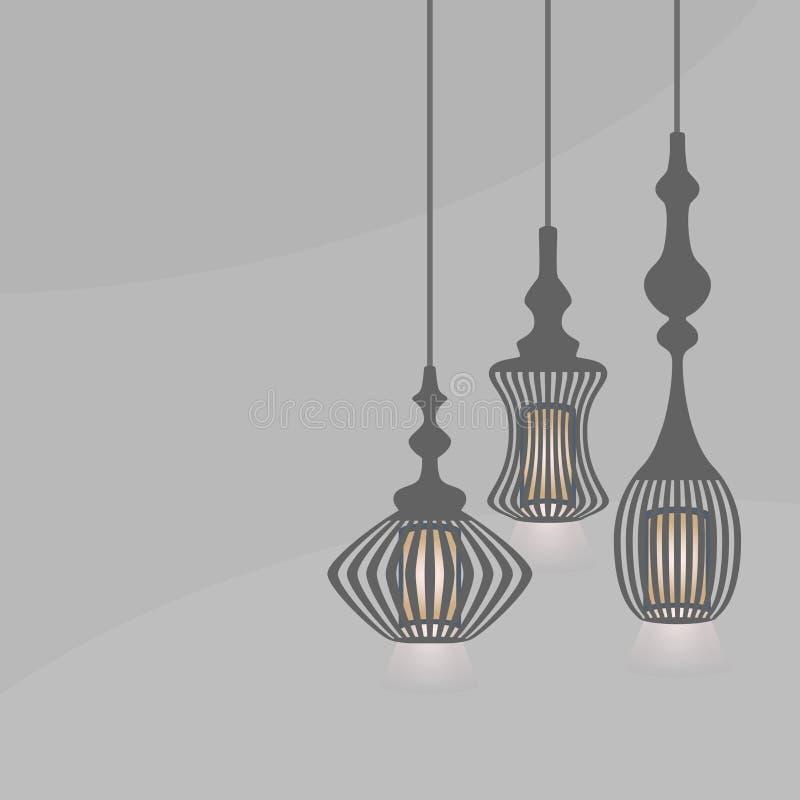 套垂悬的灯笼点燃在灰色背景的枝形吊灯 库存例证