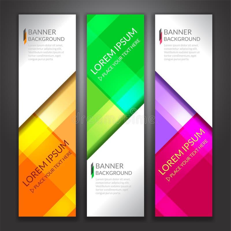 套垂直的抽象五颜六色的显示横幅背景与 向量例证