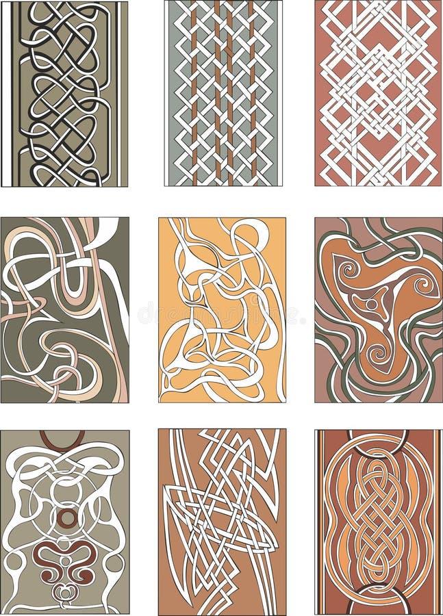 套垂直的结装饰物样式 向量例证