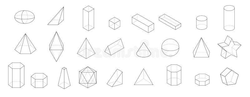 套基本的3d几何形状 在白色背景的几何固体传染媒介 向量例证