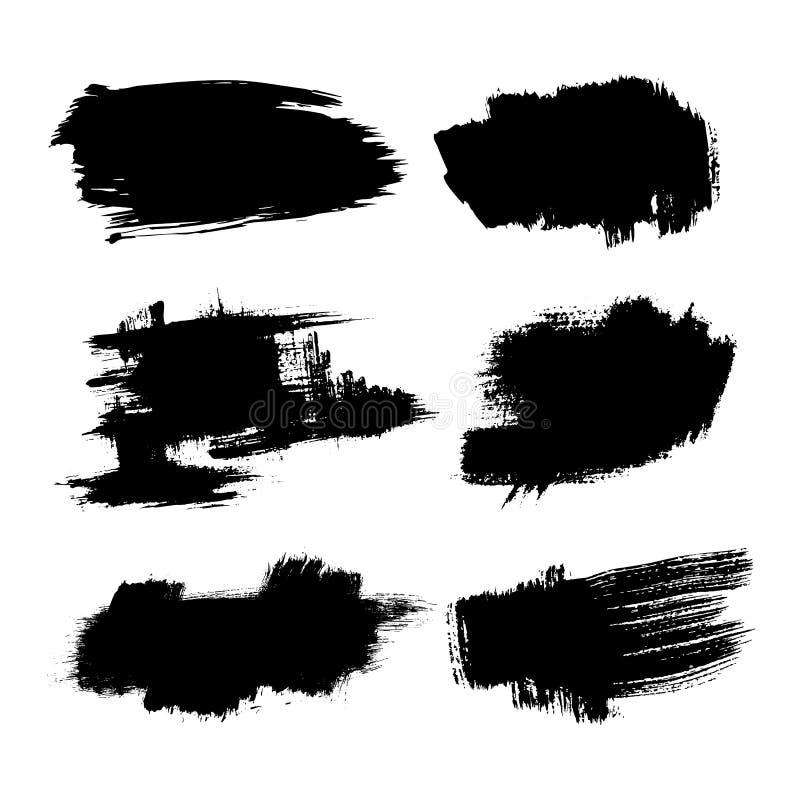 套墨水刷子冲程污点 难看的东西油漆条纹 困厄的横幅 黑油漆刷收藏 向量例证