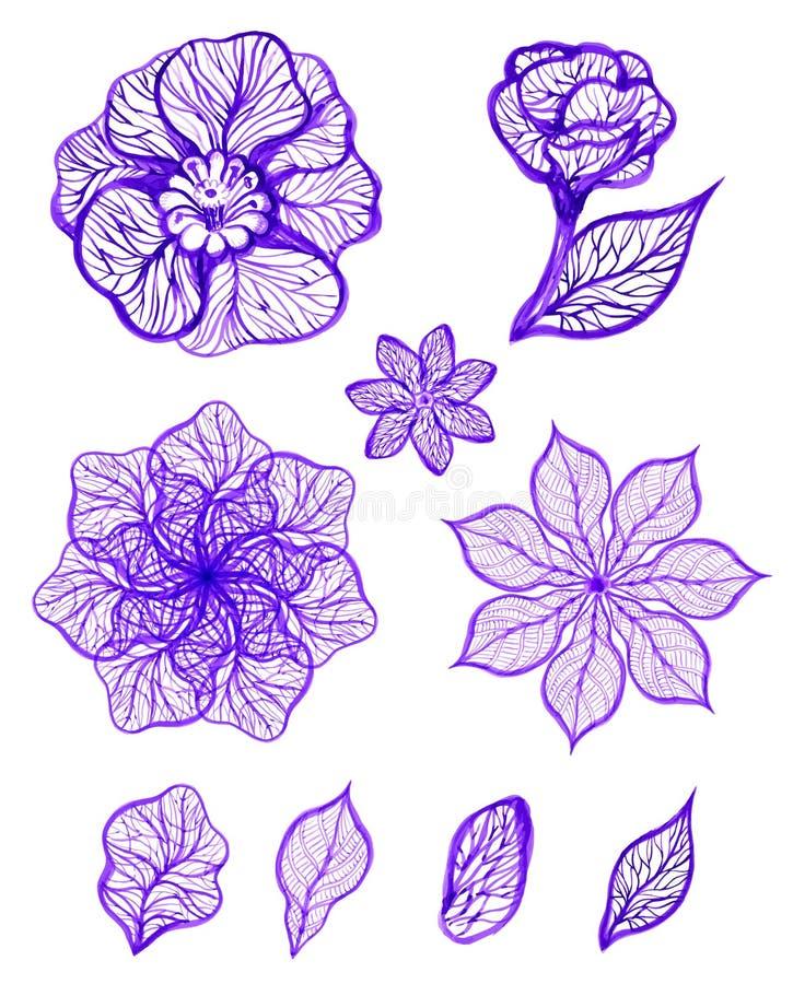 套墨水被隔绝的五颜六色的花 也corel凹道例证向量 EPS10 皇族释放例证