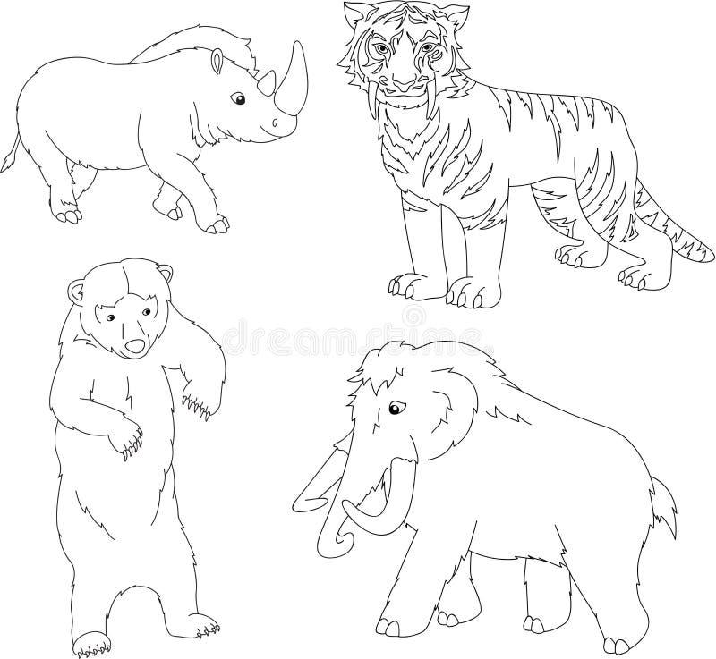 套声势浩大,史前熊、剑齿虎和犀牛 皇族释放例证