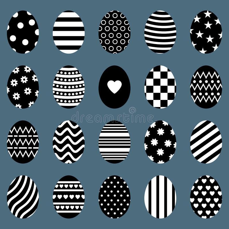 套复活节彩蛋 与条纹、小点、心脏和样式的不同的蛋剪影 对贺卡,邀请 向量 向量例证